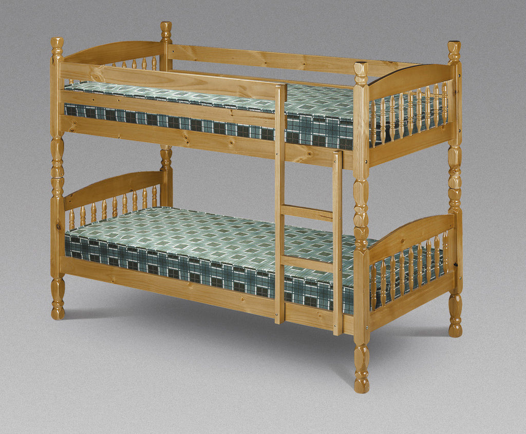 The Abraham traditional bunk bed has beautiful turned spindles and is finished antique lacquer. Constructed from solid pine, ensuring long lasting durability