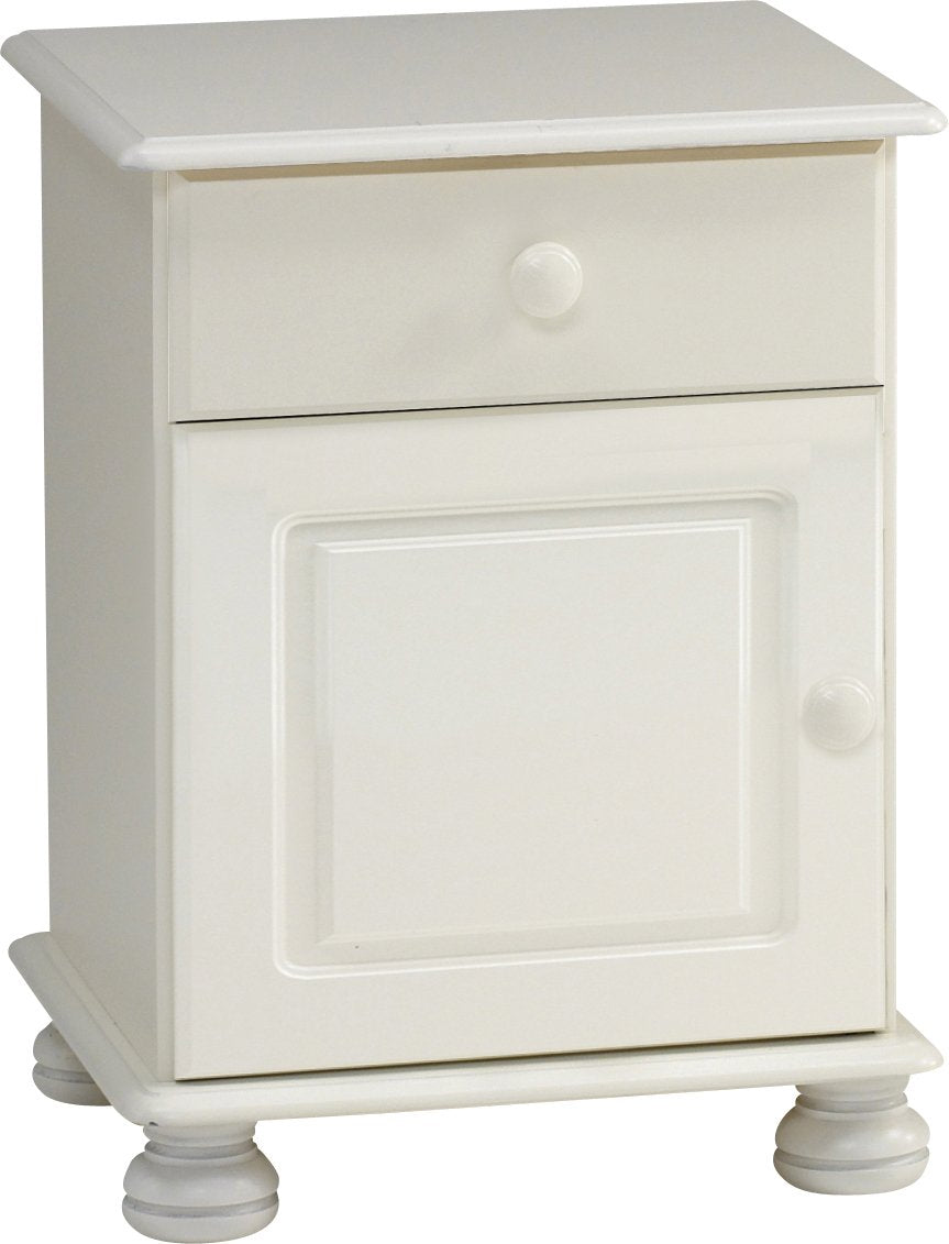 This Arctic bedside table has 1 drawer and 1 door. It is solid white MDF furniture and features traditional routing, knob handles and bun feet. Matching pieces available. DIMENSIONS are Height: 579 mm,  Width: 441 mm,  Depth: 383 mm