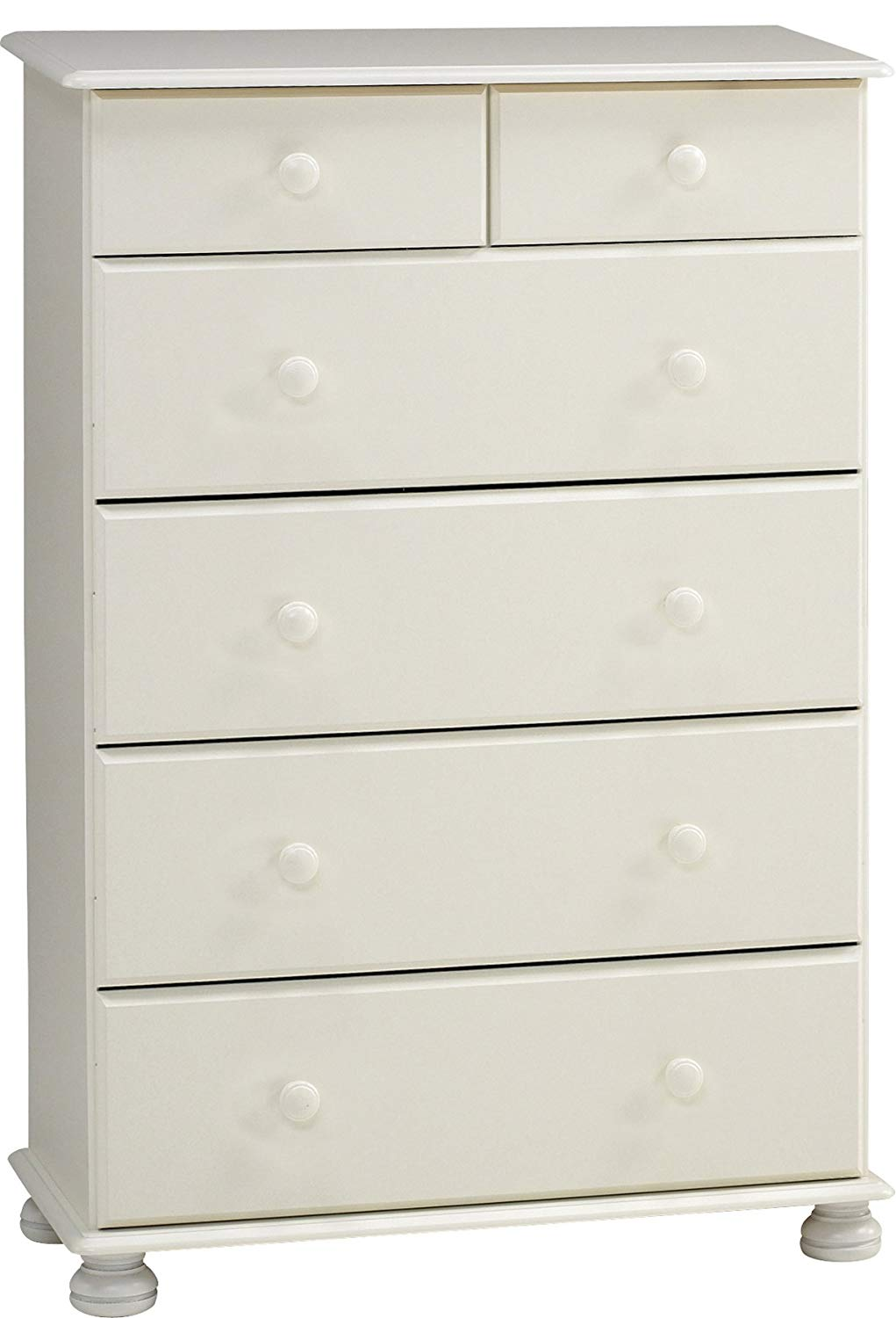 This Arctic White MDF Chest has 2 narrow and 4 wide, deep drawers. It features knob handles and bun feet. Many matching pieces available. DIMENSIONS are Height: 1219 mm,  Width: 824 mm,  Depth: 468 mm