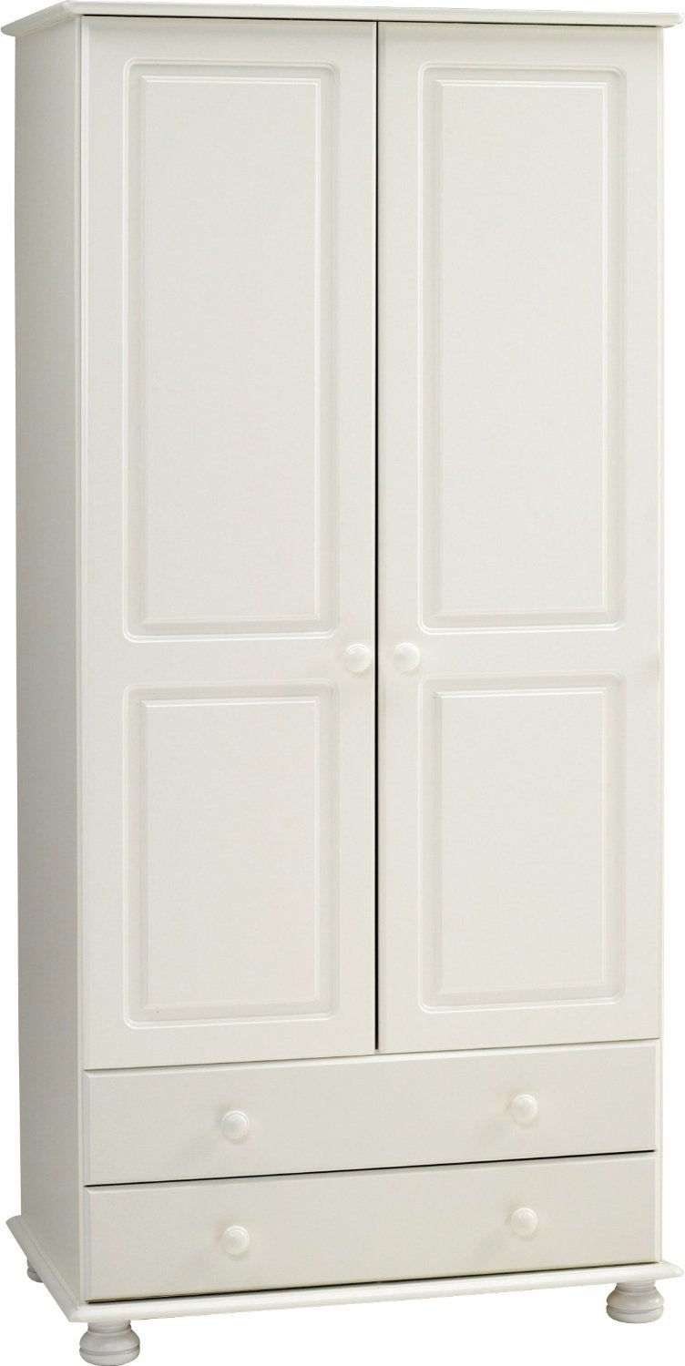 This Arctic Wardrobe has 2 Doors and 2 Drawers. It is solid white MDF featuring traditional routing, knob handles and bun feet. Flat packed for home assembly. Many matching pieces available. DIMENSIONS are Height: 1851 mm,  Width: 882 mm,  Depth: 570 mm