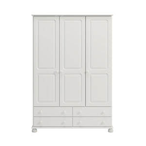 This Arctic White MDF Wardrobe has 3 doors and 4 drawers. It is flat packed and features traditional routing, knob handles and bun feet. Many matching pieces available. DIMENSIONS are Height: 1851 mm,  Width: 1294 mm,  Depth: 570 mm