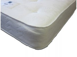 Medium tension mattress. Bonnell spring unit with steel rod-edge. Generous poly-cotton and memory fillings. Cool plus, soft knit cover. Tufted Single-sided, turn head to foot only
