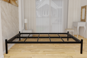 The Feltham Wrought Iron Bed Base is pictured here in black. It is chunky with a very strong welded steel mesh base and comes with fittings for a standard UK sized headboard
