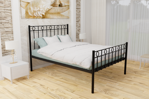 The Twickenham Wrought Iron Bed Frame, pictured here in black with a high foot end style.  It has decorative features to the head and foot ends and a very strong steel mesh base backed by a 5 year guarantee