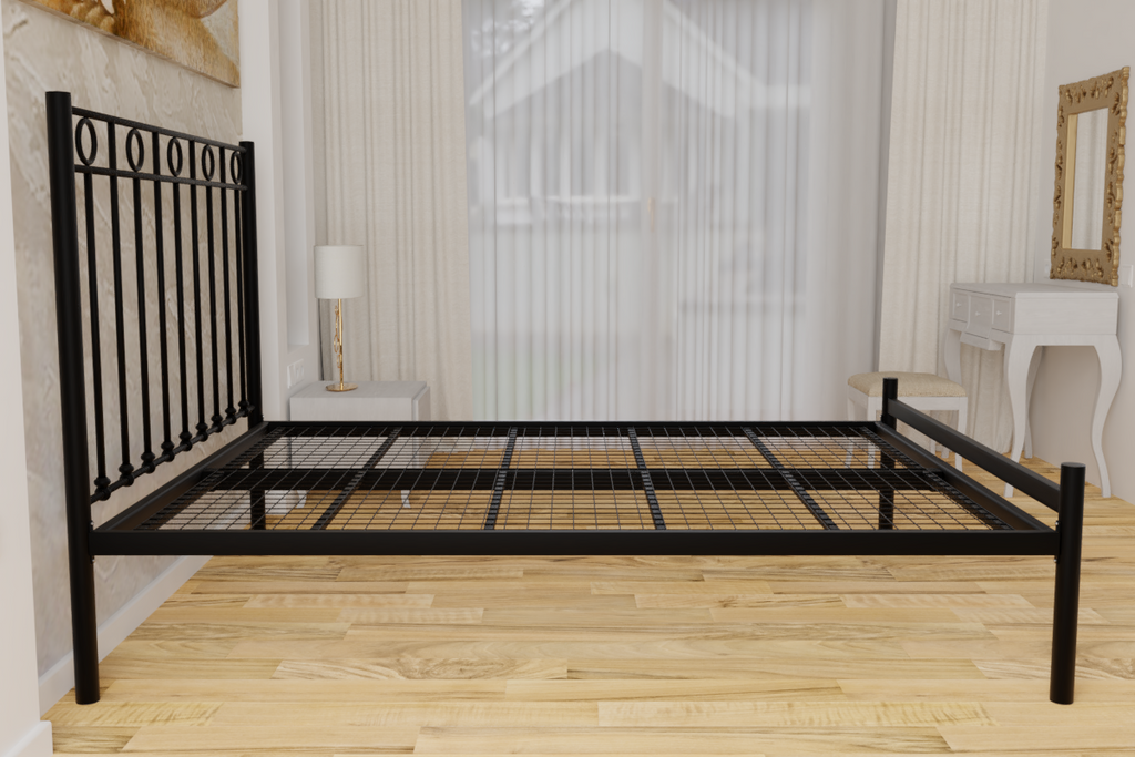 The Twickenham Wrought Iron Bed Frame, pictured here in black with a low foot end style.  It has decorative features to the head end and a very strong steel mesh base backed by a 5 year guarantee
