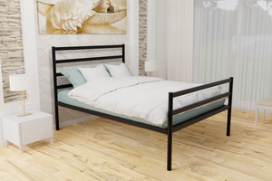 The Brentford Wrought Iron Bed Frame, is pictured here in black with a high foot end style.  It has tubular posts and a very strong steel mesh base backed by a 5 year guarantee