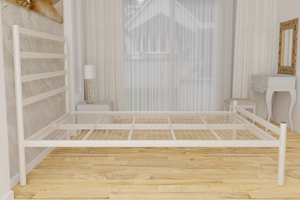 The Brentford Wrought Iron Bed Frame, is pictured here in ivory with a low foot end style.  It has tubular posts and a very strong steel mesh base backed by a 5 year guarantee