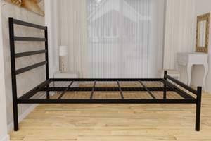 The Brentford Wrought Iron Bed Frame, is pictured here in black with a low foot end style.  It has tubular posts and a very strong steel mesh base backed by a 5 year guarantee