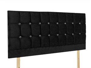 "The Madrid Crystals 24"" Strutted Headboard, pictured in black chenille with diamante buttons, or you can request matching fabric buttons. Available in 60 fabrics and colours."