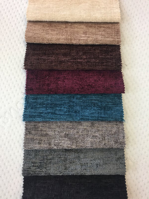 Chenille colours from top: Cream, Mink, Brown, Aubergine, Teal, Silver, Charcoal, Black
