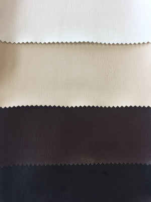 Faux Leather from top: White, Cream, Brown, Black