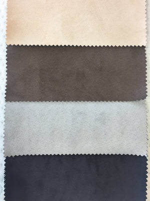 Faux Suede colours from top: Stone, Cappucino, Silverline, Black