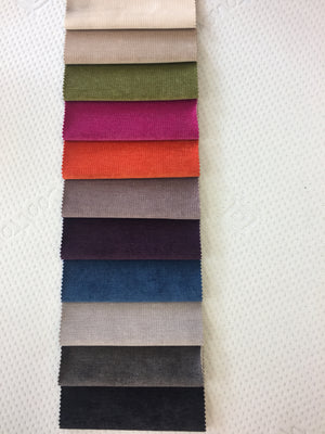Naples Velvet colours from top: Cream, Beige, Green, Pink, Orange, Lilac, Purple, Blue, Silver, Slate Grey, Black