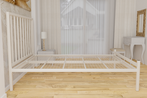 The Pinner Wrought Iron Bed Frame, is pictured here in ivory with a low foot end style.  It has sleek, straight lines and a very strong steel mesh base backed by a 5 year guarantee