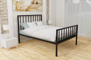 The Pinner Wrought Iron Bed Frame, is pictured here in black with a high foot end style.  It has sleek, straight lines and a very strong steel mesh base backed by a 5 year guarantee