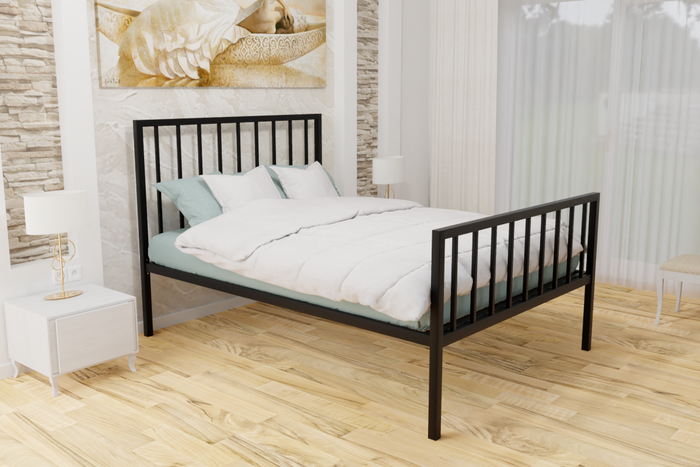 Pinner Wrought Iron Bed Frame in Black or Ivory