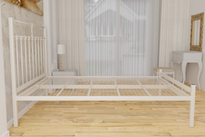 The Eastcote Wrought Iron Bed Frame, is pictured here in ivory with a low foot end style.  It has decorative features to the head end and a very strong steel mesh base backed by a 5 year guarantee