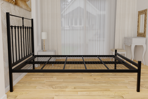 The Eastcote Wrought Iron Bed Frame, is pictured here in black with a low foot end style.  It has decorative features to the head end and a very strong steel mesh base backed by a 5 year guarantee