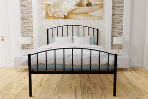 The Stanmore Wrought Iron Bed Frame, is pictured here in black with a high foot end style.  It has sleek lines, curves and a very strong steel mesh base backed by a 5 year guarantee