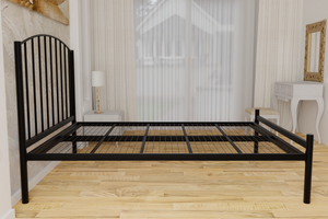 The Stanmore Wrought Iron Bed Frame, is pictured here in black with a low foot end style.  It has sleek lines, curves and a very strong steel mesh base backed by a 5 year guarantee