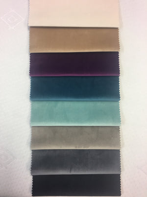 Plush Velvet colours from top: Ivory, Beige, Plum, China Blue, Duck Egg, Light Grey, Charcoal, Black
