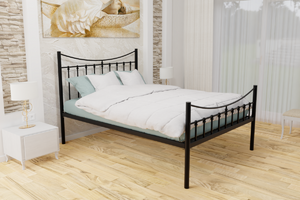 The _____ Wrought Iron Bed Frame, is pictured here in black with a high foot end style.  It has sleek lines, curves and a very strong steel mesh base backed by a 5 year guarantee