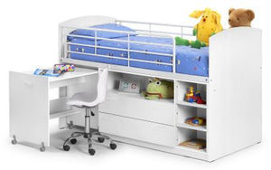 "The Glow 3'0"" Sleep Station pictured here in White features: Mid-height cabin style bed; Pull out desk; 2 large drawers; Large storage shelf; Steps double up as a 3 shelf book case; Solid hardwood slatted base."