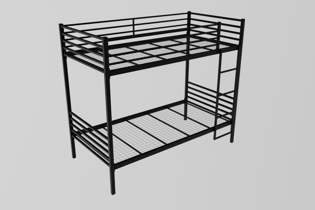 Acton Wrought Iron heavy duty bunk bed frame in black with welded metal mesh base. Fits UK standard single size mattresses. Height 178 cm, Length 198 cm, width 93 cm.