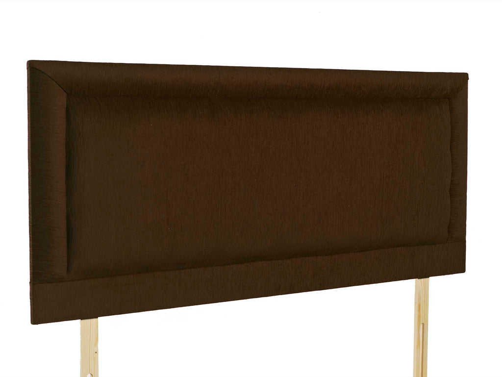 "Charlie 24"" Strutted Headboard with deep stitched border, pictured in Brown Chenille"