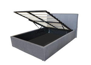 Houston Ottoman Storage Bed Frame pictured here in Grey Fabric features an all steel frame, sprung slatted base, curved headboard, gas lift struts & extra large storage capacity