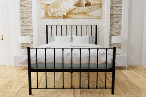 Krisjon Wrought Iron Bed Frame in Black or Ivory