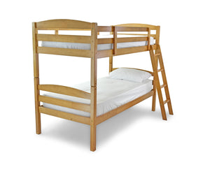 Koda Harwood Bunk pictured in Maple Stain. Featuring laminated side rails, solid hardwood slats for both strength and durability. The bunk can also be separated into 2 standard single beds if required and the ladder can be placed at either end.