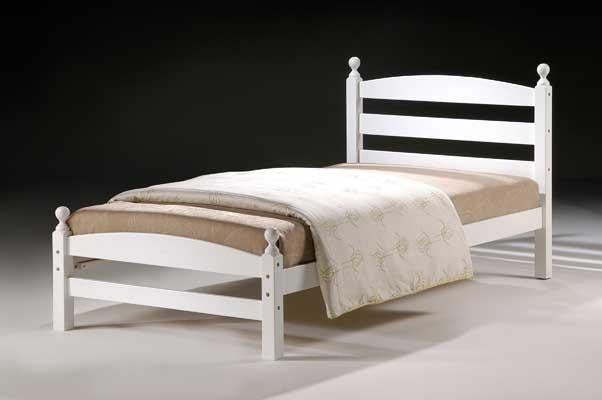 The Koda single bed frame is pictured here in White. It's of hardwood construction including solid slats. The side rails are laminated side rails and have two bolts for extra strength.