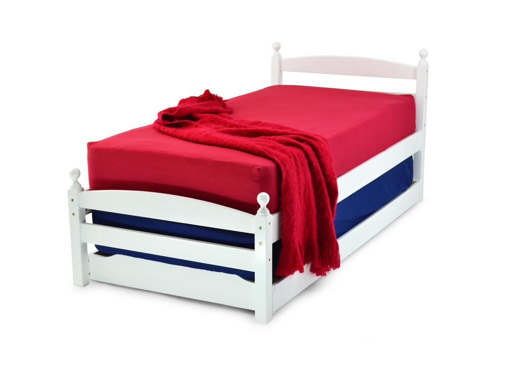 The Koda Guest Bed, is pictured here with the under bed tucked away. It's of hardwood construction including solid slats. The side rails are laminated side rails and have two bolts for extra strength.