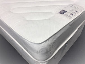 The Langley Mattress features:  Comfort level - Medium tension; Open coil spring unit with steel rod-edge; Multi-quilted layers of poly-cotton filling; Woven damask cover; Turnable