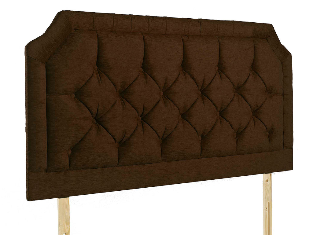 "The Lewis 28"" Struuted Headboard, pictured here in Brown Chenille with matching fabric buttons. Pinch pleated border detail. Also available with diamante buttons and in 60 different colours"