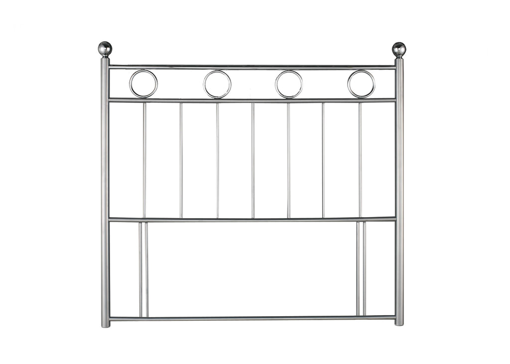 A contemporary modern floor standing headboard. Crafted to an exceptional standard. With the top bar and circles all being Chrome and the rest finished in Silver.