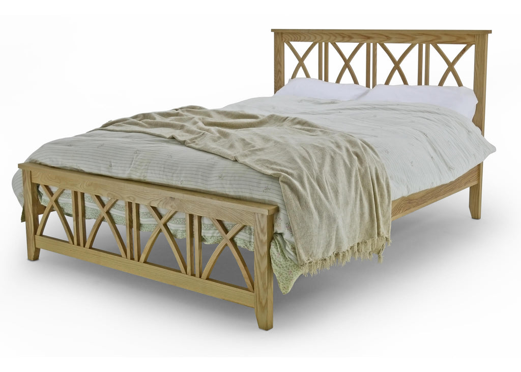 Meadow Solid Oak frame in double or king sizes, with 4 cross bars, steel support system and beech sprung slats