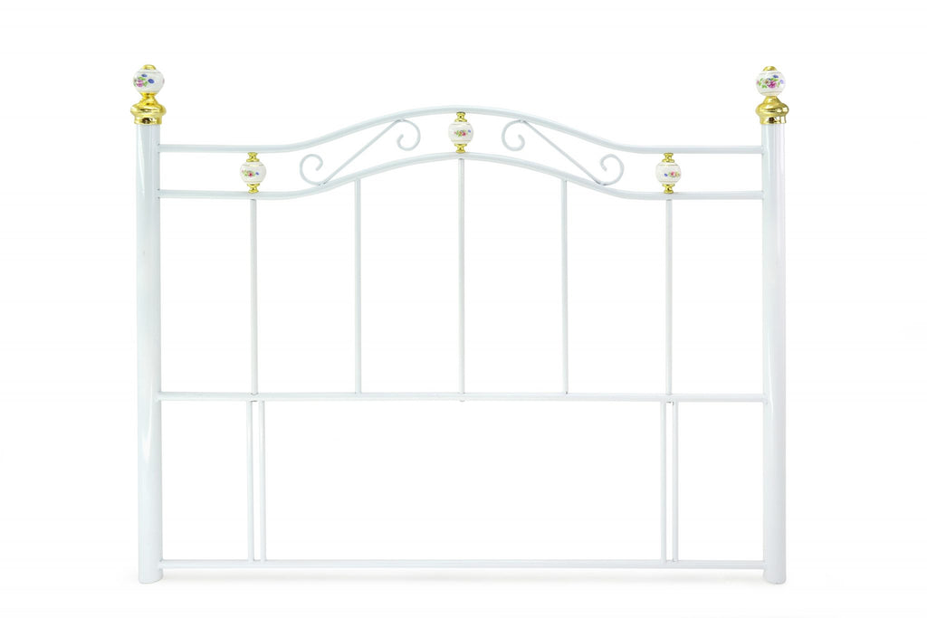 "The Warminster White Metal Headboard is floor standing for extra stability. The decorated porcelain finials have gold detailing. Available in 3', 4', 4'6"" & 5'. A really unique white metal headboard. Crafted to exceptional standards."