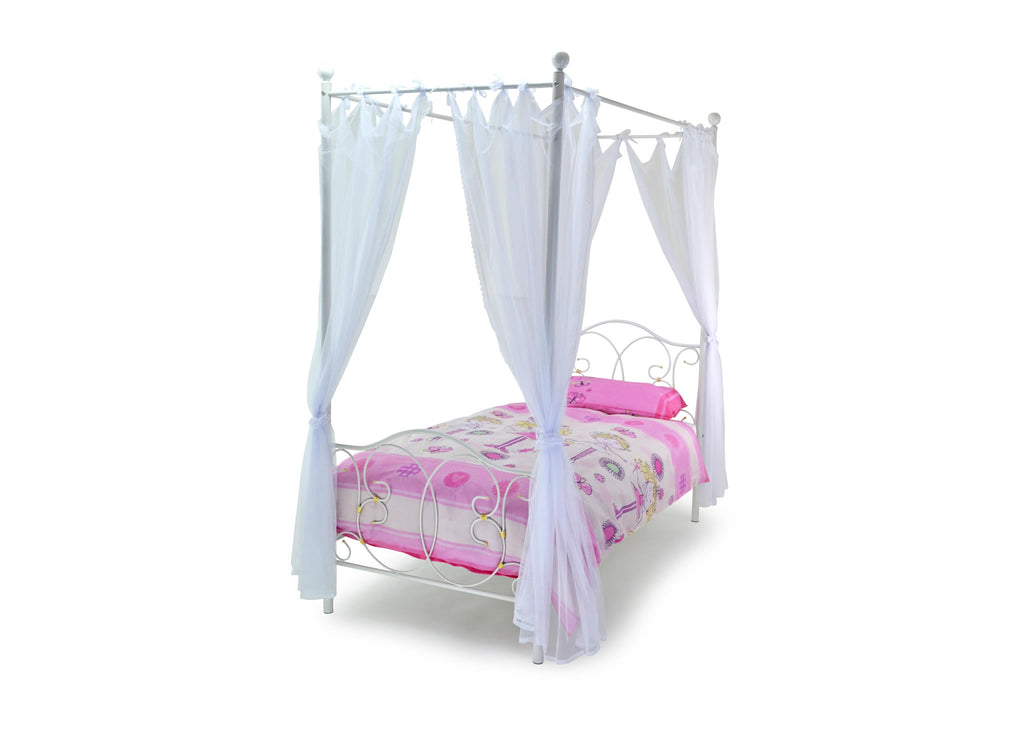 The Brighton four poster bed includes drapes and tie backs. Gloss White and finished with Gold Highlights. The ideal bed frame for any aspiring princess.