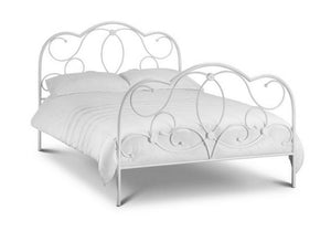 Marbella Stone White Metal Bed Frame