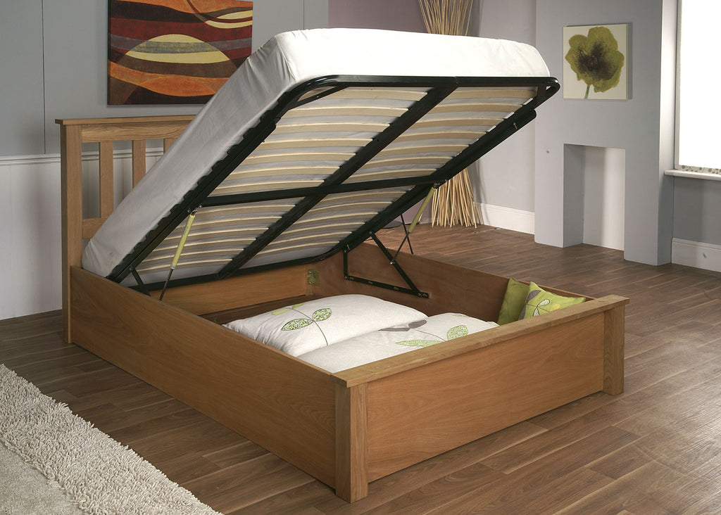New Alder Solid Oak Ottoman Storage Bed