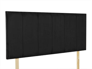 "Oxford 24"" Strutted Headboard with vertical panels, pictured in Black Faux Suede"
