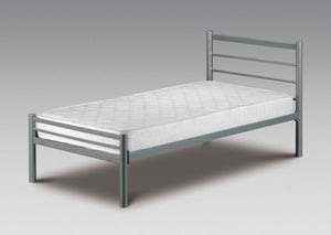This Pennine contemporary style metal frame in a powder coated aluminium finish, is a timeless design that complements a wide range of interior styles. The sprung slatted base helps to prolong your mattress life and give you a comfortable night's sleep.