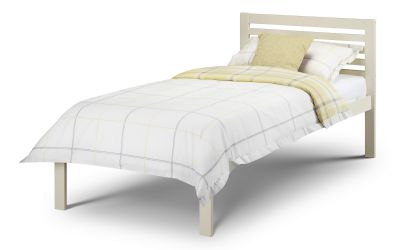 The Ranch Single Bed pictured here in Stone White paint finish, is a modern style wooden frame with a sprung slatted base