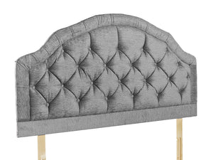 "The Siara 28"" Strutted Headboard, pictured here in Silver Chenille with matching fabric buttons. Pinch pleated, scalloped border detail. Also available with diamante buttons and in 60 different colours"