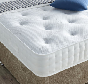 The Fulmer 1000 Pocket Divan Set, pictured in Mink Chenille. Features: Medium tension; 1000 nestled pocket springs; 5cm high grade memory foam with open cell technology; Dual season - reversible side with no memory foam; Hypo-allergenic and Dust Mite Repellent