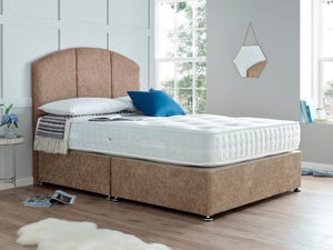 "The Fulmer 1000 Pocket Divan Set, pictured in Mink Chenille with a 54"" floor standing headboard. Features: Medium tension; 1000 nestled pocket springs; 5cm high grade memory foam with open cell technology; Dual season - reversible side with no memory foam; Hypo-allergenic and Dust Mite Repellent"