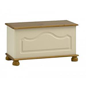 The Surrey Ottoman Box is shown here in Cream MDF and Solid Pine combination. It features routed decor to the front and solid pine bun feet.