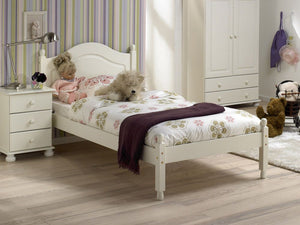 The Arctic White MDF Bed Frame features traditional routing, rounded finials and comes in UK standard single or double sizes. Flat packed for home assembly. Many matching pieces available.